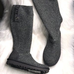 UGG CHARCOAL GRAY TALL PURL CARDY KNIT BOOTS